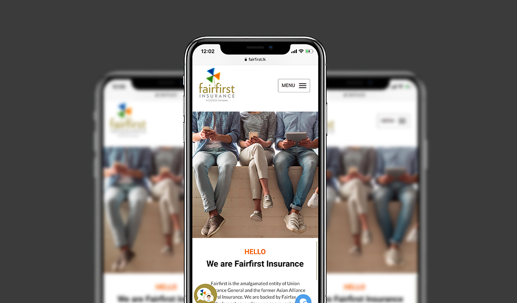 Fairfirst insurance website on mobile device
