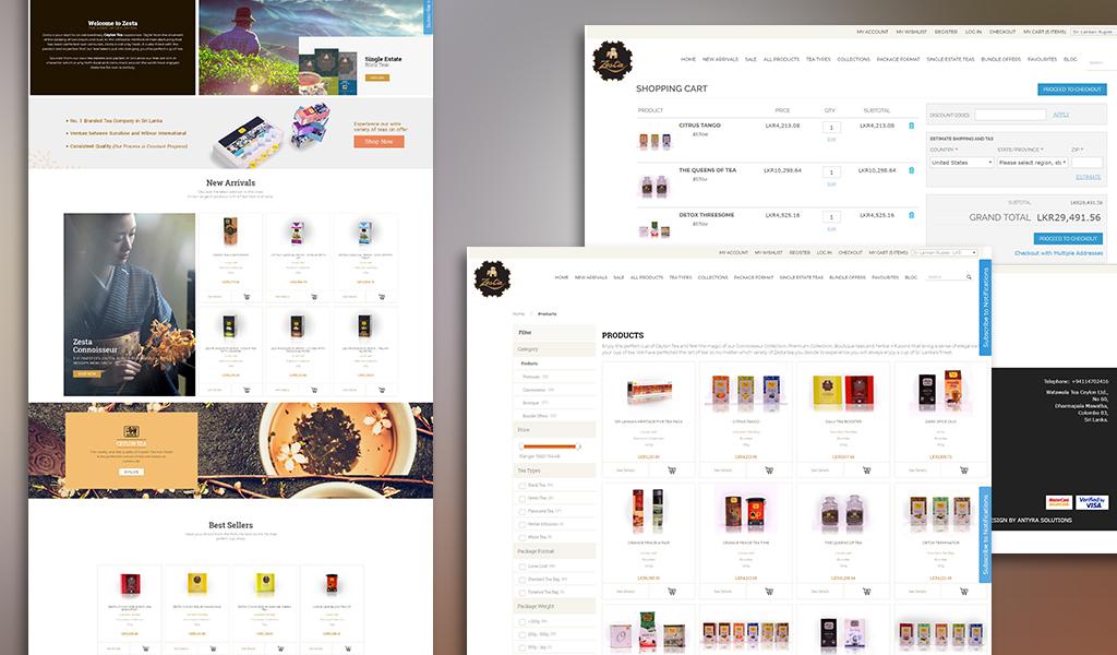Zesta Tea products and menu designs
