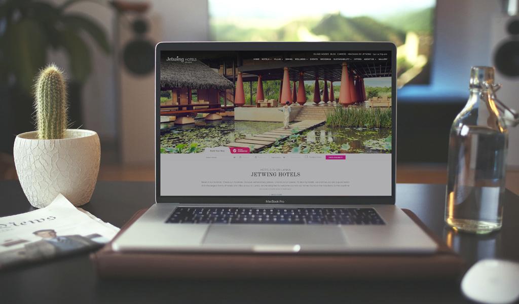 Jetwing Hotels website on laptop
