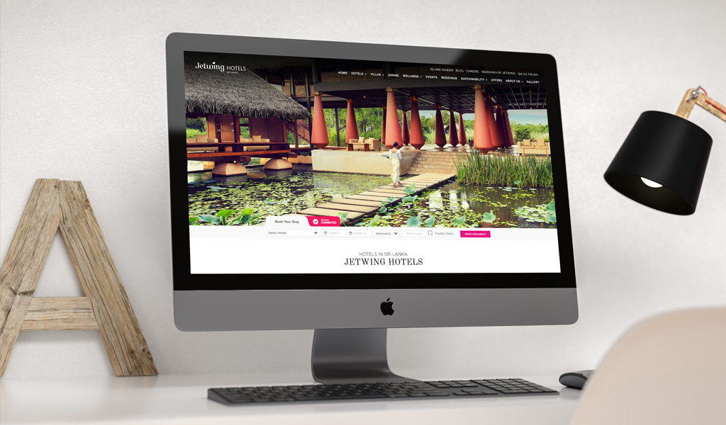 Jetwing Hotels website on computer