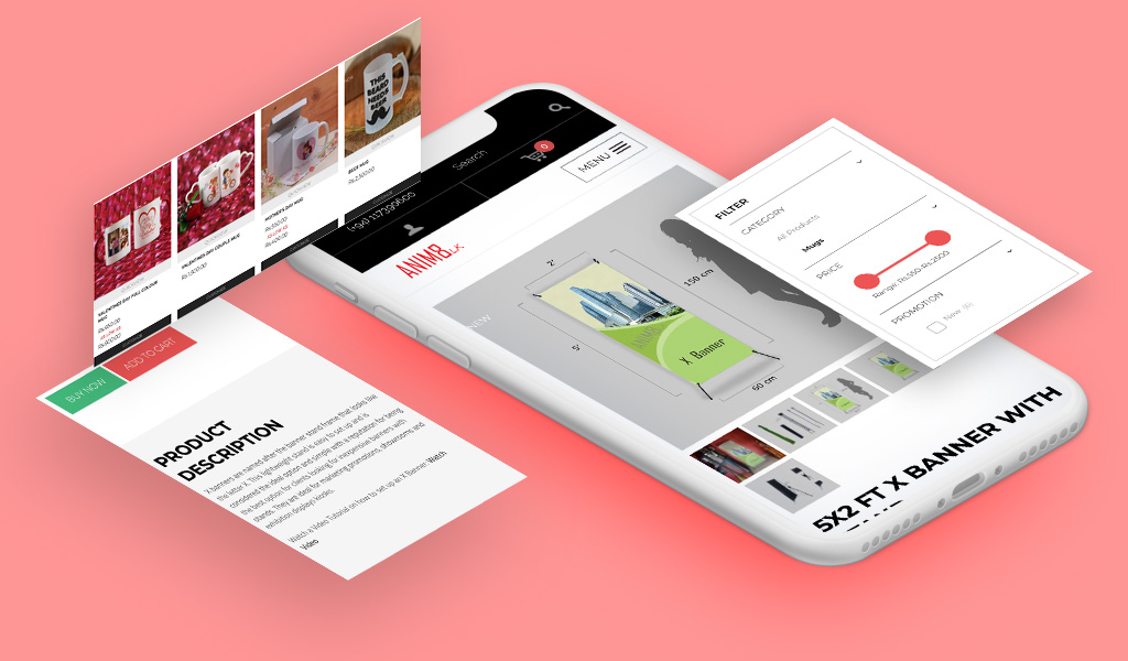 Anim8 website designs on mobile device