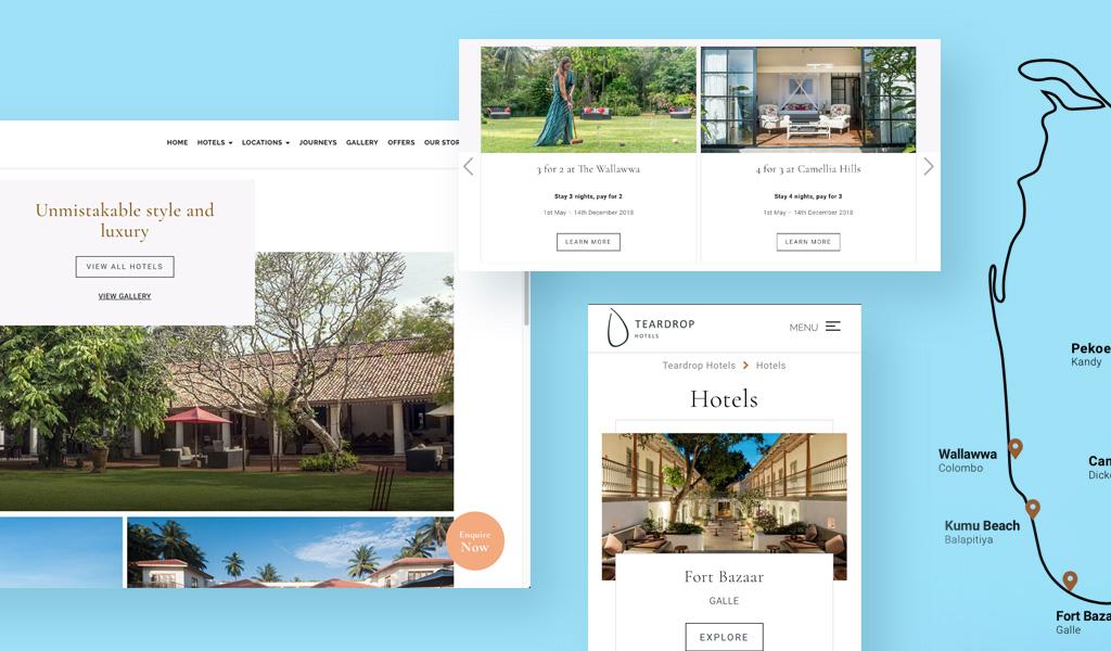 Teadrop hotels resort website image collage