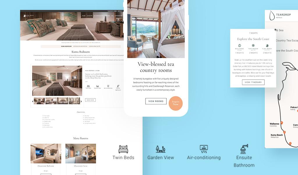 Teardrop hotels resort website images collage