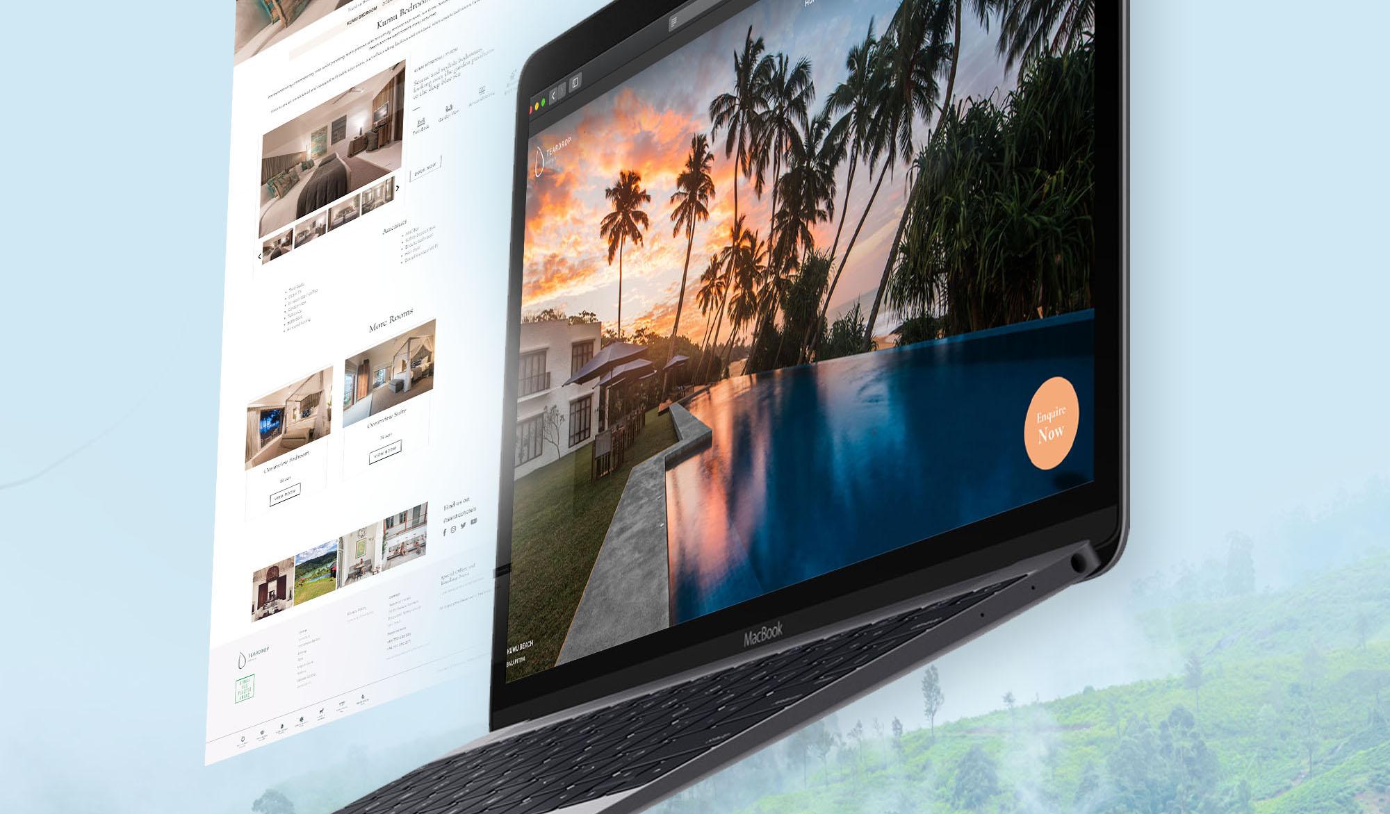 Teadrop hotels resort website design display