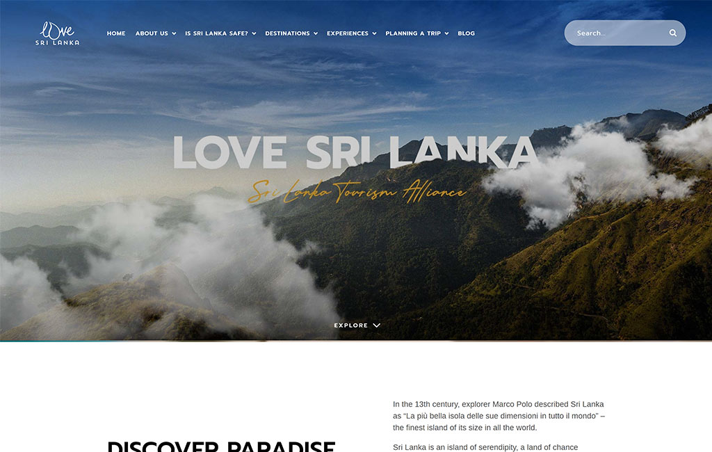 Love Sri Lanka Website design