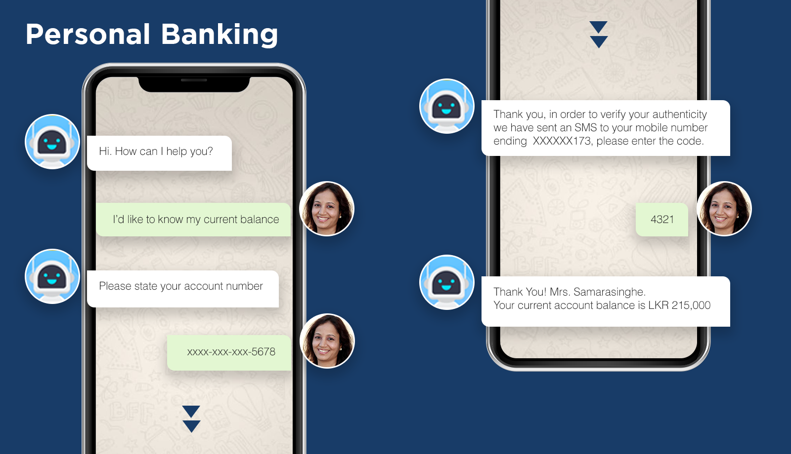 chatbot conversation on bank balance enquiry